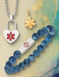 Medical jewelry is an added piece of insurance that could save a life. Find fashionable styles suited for every taste available in 14K, Sterling Silver, and Stainless Steel. #QualityGold #IdBracelets #PersonalJewelry #MedicalBracelet #14K #SterlingSilver #StainlessSteel #MedicalJewelry Id Bracelets, Jewelry Trends, Personalized Jewelry, Charms, Medical, Stainless Steel, Jewels, Sterling Silver, Gold