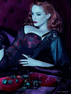 With season five of Mad Men just beginning we couldn't resist posting these pictures of Christina Hendricks (aka Joan) in What Katie Did lingerie (from GQ magazine August Christina Hendricks, Beautiful Redhead, Beautiful People, Beautiful Christina, Beautiful Ladies, Beautiful Images, Cristina Hendrix, Miles Aldridge, What Katie Did