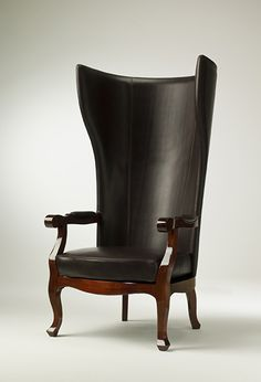 TL FURNITURE | A Modern Designer Highback Wing Armchair in Leather and High Gloss Mahogany