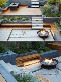 This backyard was transformed into a modern tiered garden with seating, a firebowl, a water feature, and stairs connecting the different levels. seating ideas cheap diy Before And After – An Overgrown Garden Was Transformed Into A Backyard Oasis Backyard Patio, Backyard Landscaping, Backyard Ideas, Patio Ideas, Steep Hillside Landscaping, Landscaping Edging, Terrace Ideas, Sloped Backyard, Backyard Designs