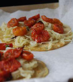 Beuf à la mode: Pancake alla farina di ceci con cipolle e pomodori...