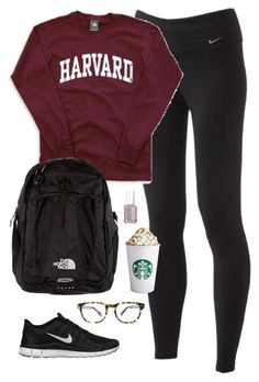 """""""Midterm Studying"""" by classically-preppy ❤ liked on Polyvore featuring NIKE, The North Face, Warby Parker and Essie"""