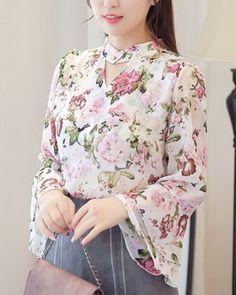 Fashion chiffon shirt Korean style tops for women Chiffon Shirt, Chiffon Tops, Clothing Patterns, Dress Patterns, Short Kurti Designs, Coats For Women, Clothes For Women, Top Wedding Dresses, Korean Style