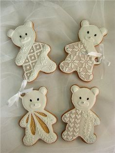 New baby animals cake teddy bears ideas Lace Cookies, Fun Cookies, Cupcake Cookies, Decorated Cookies, Cupcakes, Gingerbread Cookies, Christmas Cookies, Teddy Bear Cookies, Teddy Bears