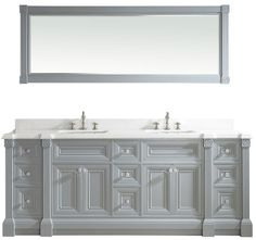 84 inch Gray Finish Double Sink Bathroom Vanity Cabinet with Mirror