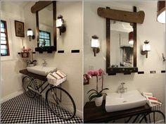 Old Bicycle Used as a Bathroom Vanity