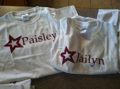 Tshirts personalized with the child's name make awesome party favors! Like these American Girl doll inspired tees! $10 each!