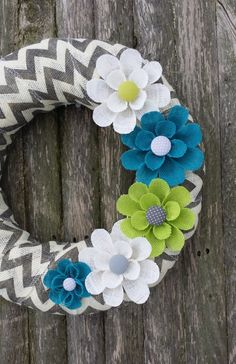 Spring Wreath Chevron Burlap Wreath with Teal by BurlapBlooms