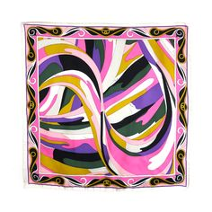 EMILIO PUCCI Abstract geometric swirl silk scarf | From a collection of rare vintage scarves at https://www.1stdibs.com/fashion/accessories/scarves/