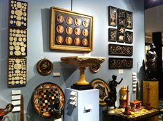 A view of Interior Decorator Craig Carrington's stand at LAPADA in 2014... Grand Tour Galore...