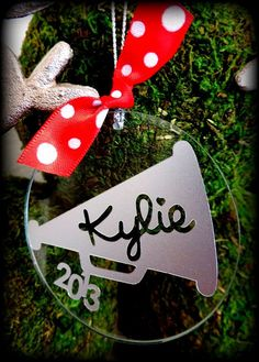 Personalized Christmas Cheerleader Ornament with Megaphone Design Keepsake on Etsy, $12.95