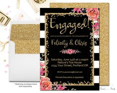 This beautiful black and white striped engagement party invitation is the perfect way to celebrate the newly engaged bride. The gold script and soft floral accents add the perfect touch of sparkle and fun to this sophisticated invitation. Choose from a printable double-sided digital file where you will print yourself, or allow Forever Your Prints to professionally print your design for you. If you would prefer to leave the printing to us, simply read below for more details on what is…