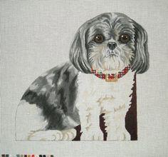 "Needlepoint dog canvas - Shih Tzu front, back and bottom 12""h - $136.00"