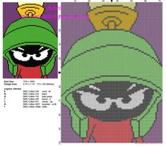 Marvin The Martian Looney Tunes in a colored violet tile free cross stitch pattern