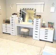Makeup vanity organization and storage.