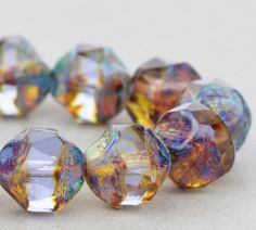 Czech Glass Beads - Central Cut Beads - Alexandrite Transparent with Picasso Finish - 9mm Beads - 15 beads @SolanaKaiBeads on Etsy #Beads #BeadStore #SolanaKaiBeads