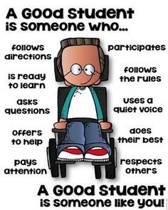 A Good Student Poster – Differently Abled [someone who] – Education Posters Social Skills Lessons, Teaching Social Skills, Social Emotional Learning, Teaching Kids, Kids Learning, Classroom Behavior, Classroom Rules, Classroom Posters, School Classroom