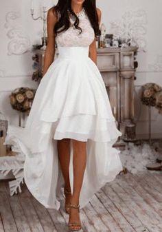 White Patchwork Lace Irregular Round Neck Sleeveless Maxi Dress