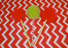 Whimsical Christmas PENCIL POMS! Party favors, stocking stuffers, cute for a Grinch themed party! www.etsy.com/shop/prettimini