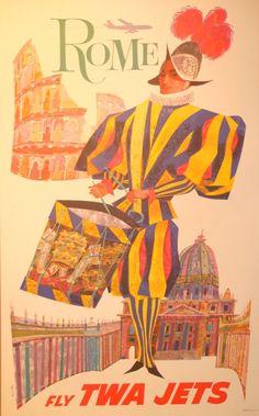 """David Klein  ROME–Fly TWA  Poster—Lithograph  25"""" x 40"""""""
