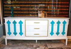 The Spade Dresser painted furniture. Bohemian-Moroccan vibe. Retro, vintage, mid century modern.