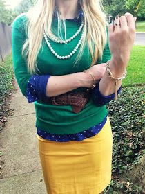 Emerald, Navy, and Topaz, lovely fall combination
