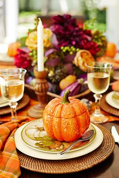 Orange Pumpkin Lidded Bowl features an embossed scroll pattern and subtle, hand-shaded variations in color. Thanksgiving Diy, Thanksgiving Tablescapes, Thanksgiving Decorations, Thanksgiving Activities, Fall Dining Table, Autumn Table, Dinner Table, Dining Decor, Harvest Decorations