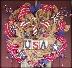 July 4th Wreath - burlap w red ribbon.