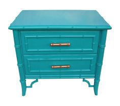 Simply fabulous small chest or large nightstand. Mid Century, 1960s. Gorgeous Chippendale faux bamboo design and lots of it. Newly lacquered in a bold turquoise blue, Made by Dixie, the Aloha line.   This would be stunning in an entryway with a mirror or in between two chairs, so many possibilities!!