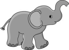 Free Baby Elephant Clip Art Image: Cute Little Baby Elephant Cartoon with Its Trunk up