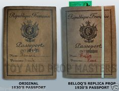 Rene Belloq's French Passport Replica Prop from Indiana Jones and the Raiders of the Lost Ark