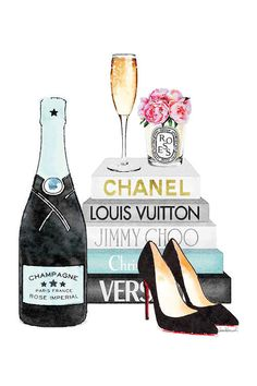 Pink Books And Pink Champagne Canvas Art . Art Mural Rose, Art Rose, Canvas Artwork, Canvas Wall Art, Canvas Prints, Art Prints, Dorm Canvas, Chanel Wallpapers, Chanel Wall Art