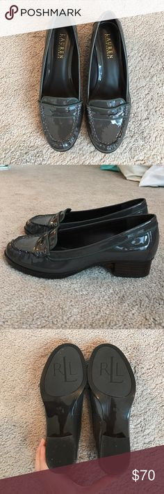 Ralph Lauren Loafers Worn once, but too small :( Awesome gray/green color, these are waterproof as well! Fits a true 8.5 Ralph Lauren Shoes Flats & Loafers
