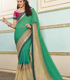 Buy green embroidered pure lycra saree with blouse party-wear-saree online