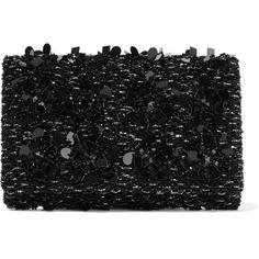 Oscar de la Renta Embellished satin and suede clutch ($2,335) ❤ liked on Polyvore featuring bags, handbags, clutches, black, floral shoulder bag, shoulder bag purse, beaded clutches, sparkly purses and suede purse