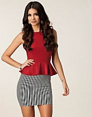 Contrast Stripe Peplum - Ax Paris - Red - Party dresses - Clothing - NELLY.COM UK - a great combination!