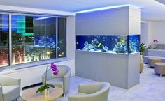 Have you ever thought about placing an aquarium in your kitchen? Actually, the feature of an aquarium in a kitchen will make it looks outstanding, suitable for you who want to make your kitchen as the center of attention in your house. Aquarium Design, Wall Aquarium, Aquarium Stand, Aquarium Ideas, Aquariums Super, Amazing Aquariums, Fish Aquariums, Support Pour Aquarium, Conception Aquarium