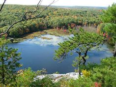 Lantern Hill Pond in the Fall.  View of the pond from Lantern Hill on the Narragansett Trail in Mashantucket (North Stonington), Connecticut (CT).  Image by Erika Hall.