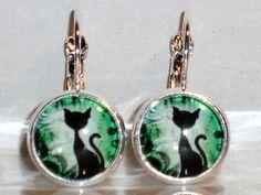 Ohrringe Katze Tier Grün Damen Hänger Ohrschmuck Modeschmuck Leverback Glas