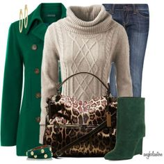 Love the green and cream Winter Outfit #xmas_present #xmas_gifts
