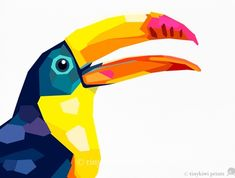 Geometric illustration Toucan Bird print by tinykiwiprints on Etsy Mais Art And Illustration, Posca Art, Polygon Art, Arte Pop, Bird Drawings, Bird Prints, Geometric Art, Bird Art, Painting Inspiration