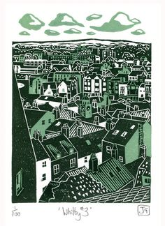 Whitby No.3 two-colour linocut print, James Green -- Printworks