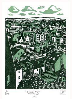 Whitby No.3 two-colour linocut print, James Green -- Printworks