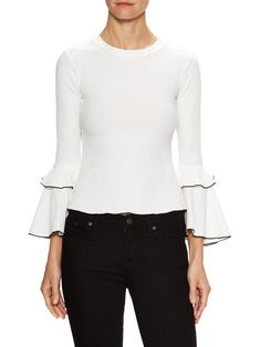 Textured Flounce Sleeve Top by Renvy at Gilt