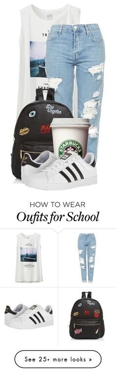 """""""Casual summer chic"""" by kellyaguilera on Polyvore featuring Uniqlo, Topshop, Ollie & B, adidas and summertime"""