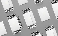 Envelopes with black and white pattern.