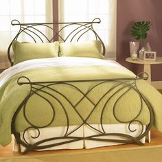 Wesley Allen Iron Beds - Melody - at D Noblin Furniture.As its name implies, this bed is a composition of style, grace and harmony momentarily capturing the whimsical flow of music and motion contained inside the imagination of the romantic. Iron Headboard, King Headboard, Headboards, Wrought Iron Bed Frames, Bed Frames For Sale, Home Bedroom, Bedroom Ideas, Master Bedroom, Bedrooms