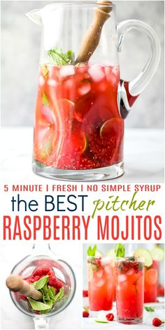 The BEST Fresh Raspberry Mojito Recipe - made with agave, fresh lime, mint and raspberries. These mojitos are my summer go-to and can easily be made into a mocktail! Minty refreshing mojitos with a touch of fresh raspberry make the perfect party cocktail. Mojito Pitcher, Mojito Drink, Pitcher Drinks, Raspberry Mojito Recipe Pitcher, Drinks With Raspberry Vodka, Healthy Mojito Recipe, Best Mojito Recipe Ever, Fresh Raspberry Recipes, Watermelon Mojito