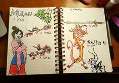 Disney Mulan weekly spread bullet journal  Mushy movie