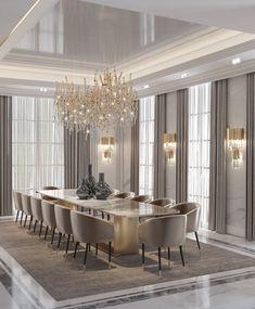 Home Room Design, Dining Room Design, Home Interior Design, House Design, Neoclassical Interior Design, Luxury Bedroom Design, Elegant Dining Room, Luxury Dining Room, Esstisch Design